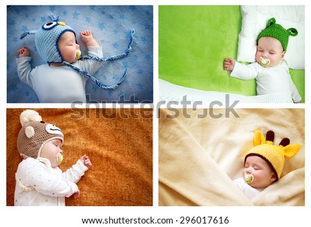 set of colourful pictures of sleeping baby in animal hats - stock photo