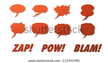 Set of comic style colorful hand drawn talk clouds and words. - stock photo