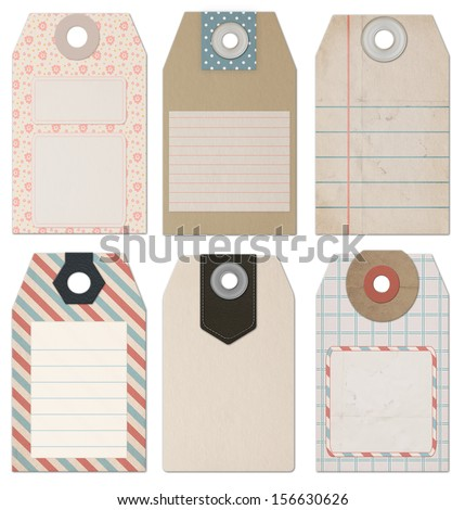 Set of 6 computer designed high resolution vintage Style Tags for Design or scrapbooking - stock photo