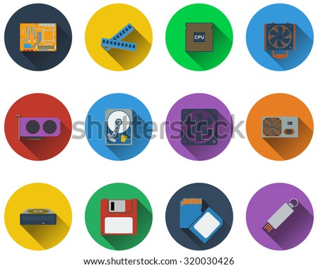 Set of computer hardware icons in flat design.  Raster illustration. - stock photo