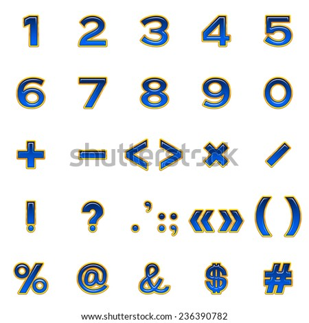 Set of computer icons, numbers, mathematical and punctuation signs, stylized glass blue buttons with golden frames, elements for web design. - stock photo