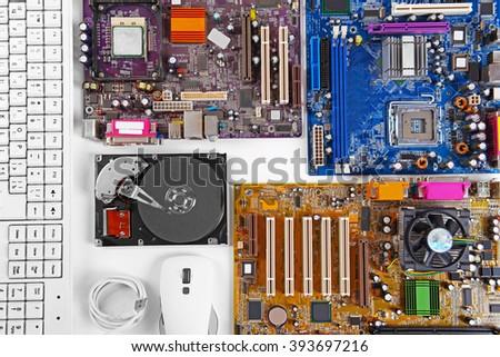 Set of computer parts on white background, closeup - stock photo