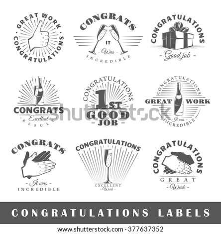 Set of congratulations labels. Elements for design on the congratulations theme. Collection of congratulations symbols: handshake, applause, champagne. Modern labels of congratulations. Illustration  - stock photo