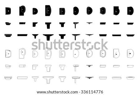 set of contours and silhouettes of ten models of bathroom equipment on a white background