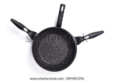 Set of cook pan on white background,Top view of new empty frying pan.. - stock photo