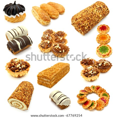 Set of cookies of the various form on a white background - stock photo