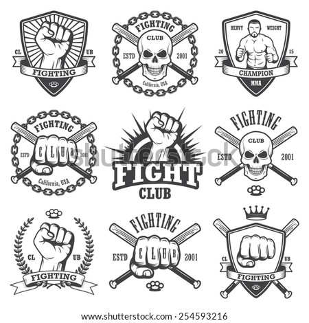 Set of cool fighting club emblems labels badges logos monochrome