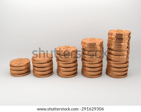 Set of copper coins sort by vertically column with gradient background. - stock photo