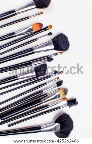 set of cosmetic brush, High Angle view, fashion and beauty, tool set