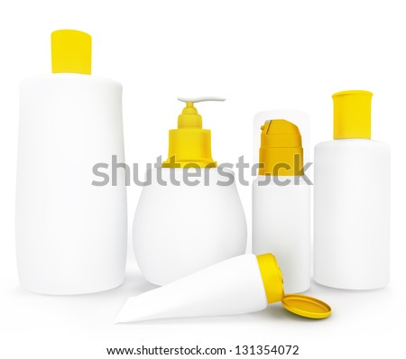 Set of cosmetic products in bottles. Isolated on white background