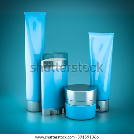 Set of cosmetics on a blue background - stock photo