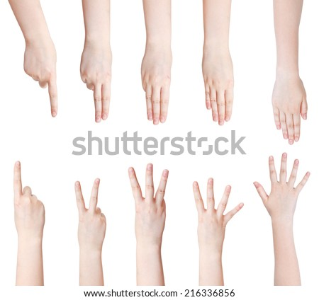 set of counting hand gesture isolated on white background - stock photo