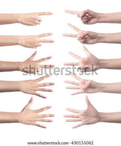 Set of counting hand sign.hand gestures.Set of counting hands.female hands gesture making numbers.fingers and numbers.hand counting.isolated with clipping path.