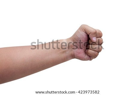 Set of counting hand sign isolated on white - stock photo