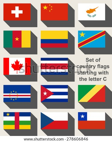 Set of country flags starting with the letter C. - stock photo