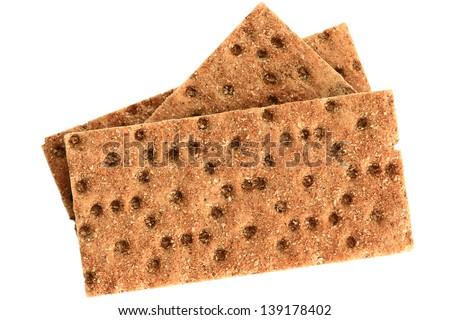 Set of crackers, isolated on white background. - stock photo