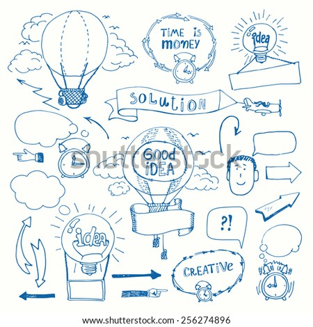 Set of creative doodles thinking concept. Business idea, solution, creativity and success - stock photo