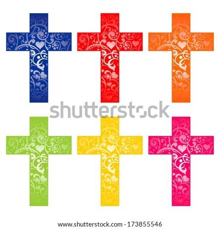 Set of crosses isolated on White background. Christian Symbol.  illustration  - stock photo