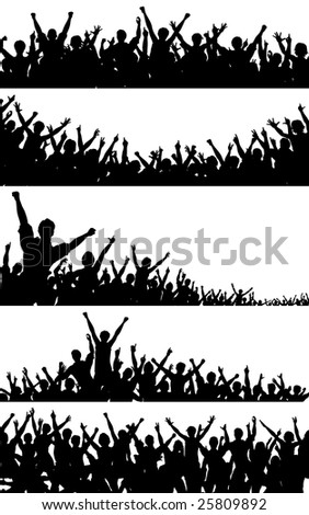 Set of crowd silhouettes. Vector file available.
