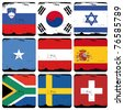 set of cube flags - stock photo