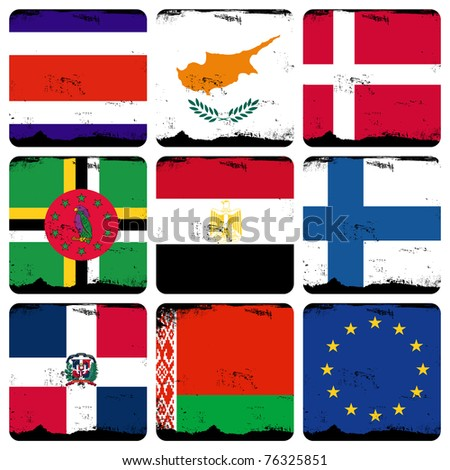 set of 9 cube flags - stock photo