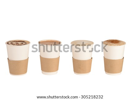 Set of Cups of coffee and Chocolate - stock photo