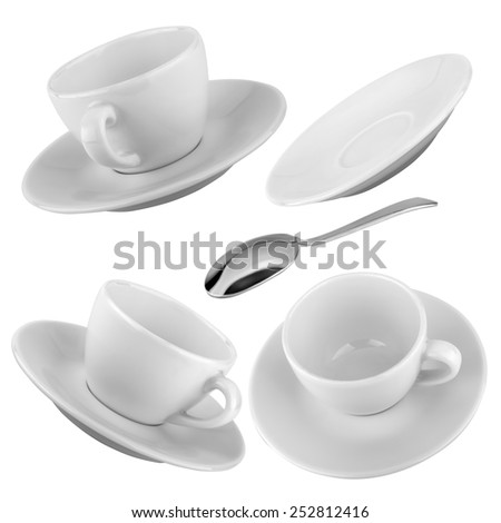 Set of cups of coffee with a silver spoon on a isolated background