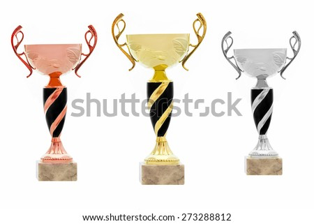 set of cups or goblets isolated on white background - stock photo