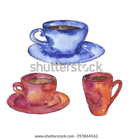 Set of cups with tea or coffee drawn by watercolor and ink. Hand drawn illustration.