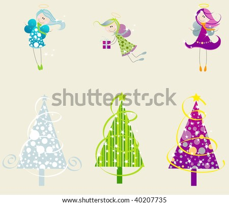 Set of cute angels and christmas trees - stock photo