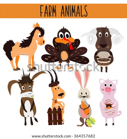 Set of Cute cartoon Animals and birds of the farm on a white background. Donkey, sheep, horse, pig, poultry, Turkey, goat, rabbit with carrot . illustration - stock photo