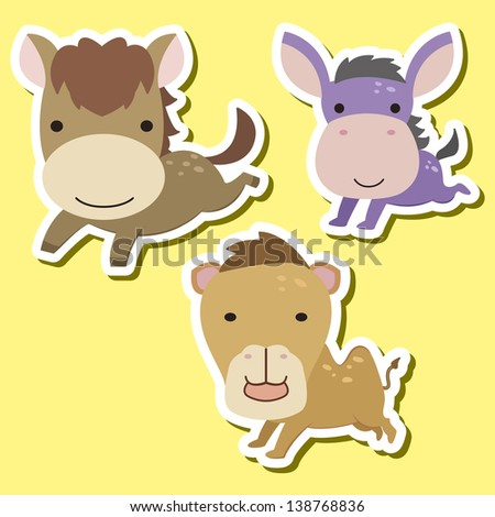 set of cute cartoon animals with horse, donkey,and camel. - stock photo