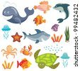 Set of cute cartoon sea animals on white background (raster version) - stock vector