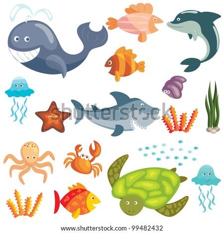 Set of cute cartoon sea animals on white background (raster version) - stock photo