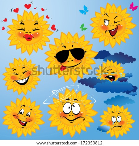 Set of cute cartoons of sun with different expressions and emotions. Design for travel and summer holiday. Raster version - stock photo