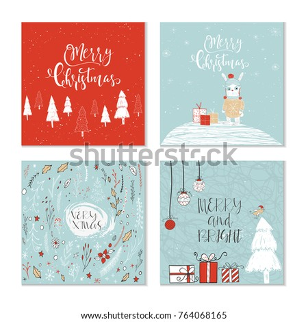 Set 4 cute christmas gift cards stock illustration 764068165 set of 4 cute christmas gift cards with animals and lettering quote merry christmas warm m4hsunfo