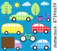 Set of cute colorful transport vehicles. Raster version. - stock vector