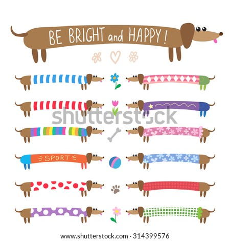 Set of cute dachshunds dogs in bright multicolored clothing - stock photo