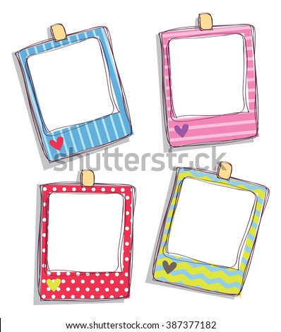 set of cute frame - stock photo