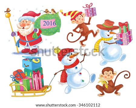 Set of cute funny Christmas characters isolated on white background. Christmas. Santa Claus, snowman, funny monkeys. New Year. Illustration for children. Greeting card.  - stock photo