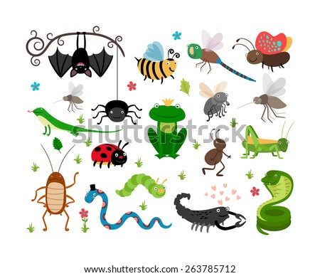 Set of cute insects and reptiles. Bee and grasshopper, lizard and snake, frog and cockroach - stock photo