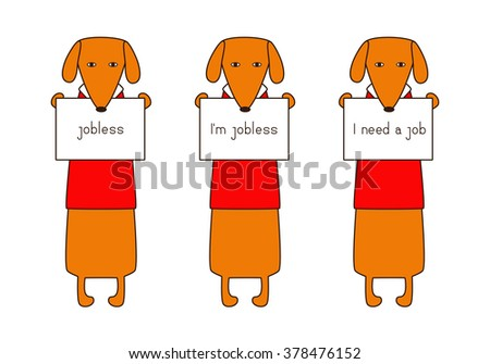Set of cute orange colored brown contoured dachshunds in red sweaters with white collar holding plates in paws. Concept of jobless and looking for job. Flat style illustration - stock photo