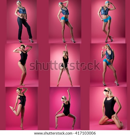 Set of cute pin-up girl poses, on pink background