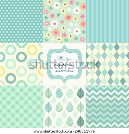 Set of cute retro primitive seamless patterns in turquoise colors - stock photo