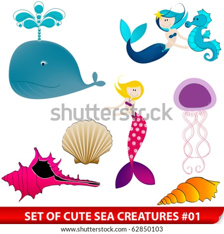 Set of cute sea creatures - stock photo