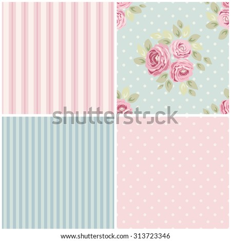 Set of cute seamless Shabby Chic patterns with roses, polka dot and striped, ideal for kitchen textile or bed linen fabric or interior wallpaper design, can be used for scrap booking paper etc - stock photo