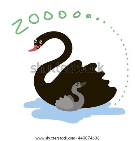 Set of Cute Zoo Animal. Kawaii eyes and style. Doodle illustration. Swan - stock photo