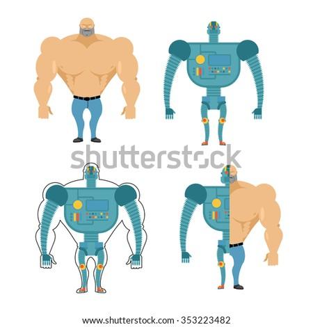 Set of Cyborgs. Robot in human body. Iron, metal skeleton of man. Human body in future. Bionic Artificial intelligence. - stock photo