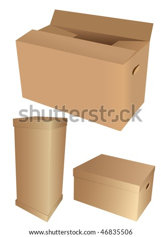 Set of 3d cardboard boxes, isolated on white background - stock photo