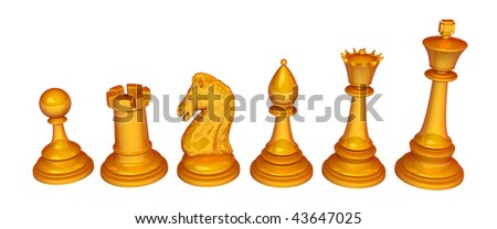 Set of 3d chess pieces, over white, isolated
